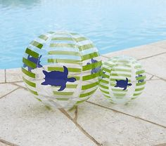 Green Turtle Beach Balls - also whale and butterfly