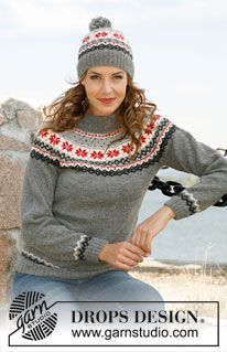 """Knitted DROPS hat and jumper with Norwegian pattern in """"Alpaca"""". Size: S - XXXL. ~ DROPS Design"""