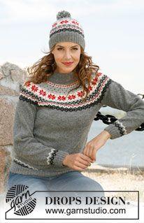 "Ravelry: b - ""Fjord Rose"" - Hat with Norwegian pattern in Alpaca pattern by DROPS design Fair Isle Knitting Patterns, Jumper Patterns, Sweater Knitting Patterns, Knit Patterns, Free Knitting, Finger Knitting, Tejido Fair Isle, Pull Jacquard, Drops Design"