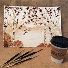 Painting with coffee, TW Coffee Artist Painting Studio, Painting For Kids, Artist Painting, Diy Painting, Watercolor Paintings, Watercolours, Coffee Painting Canvas, Family Art Projects, Coffee Artwork