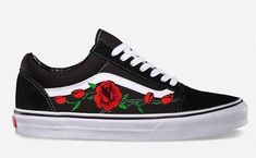 Here is a great looking pair of shoes. We have taken the standard Vans Old Skool sneaker and embellished it with an embroidered rose vine. This beautiful design has been custom added to a brand new pair of Vans Old Skool sneakers. Careful steps have been taken to avoid any fraying,