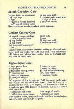 Scotch Chocolate Cake, Graham Cracker Cake, Eggless Spiced Cake