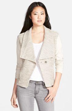 Halogen®+Bouclé+&+Knit+Drape+Collar+Jacket+(Regular+&+Petite)+available+at+#Nordstrom