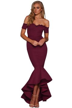Zkess Women Scalloped Lace Trim Off Shoulder Mermaid Dress Sexy Strapless Sleeveless Hi-low Ruffles Party Maxi Dress Lace Party Dresses, Sexy Dresses, Short Sleeve Dresses, Prom Dresses, Short Sleeves, Dress Party, Club Dresses, Wedding Dresses, Robe Swing