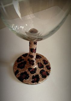 Wine glass glitter cheetah  print by GlittersGalore on Etsy, $12.00