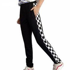 Checkered Print Stripe Pants