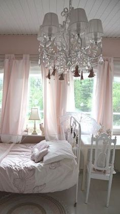 Shabby Prim Delights by Michelle - I love the windows and chandelier Shabby Chic Bedrooms, Shabby Chic Cottage, Shabby Chic Homes, Shabby Chic Style, Shabby Chic Decor, Dream Bedroom, Home Bedroom, Bedroom Decor, Bedroom Ideas