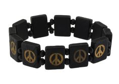 Wood Beaded Tile Skull Rasta Peace Symbol Stretch Yin Yang Bracelet (Black Peace). Tile Wood Beaded Peace Sign Yin Yang Cross Bracelets Made of Wood and Elastic. Beaded Bracelets made with elastic string, One Size Fits Most. Wood Bead Height: .6 inches. Street Style Beaded Stretch Bracelets with Cool Bohemian Designs like Yin Yang, Peace Symbol, Skull and Crossbones, and Crosses.