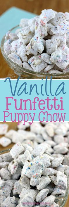Vanilla Funfetti Puppy Chow is the ideal snack when you're craving something sweet and crunchy! Best Dessert Recipes, Easy Desserts, Delicious Desserts, Snack Recipes, Holiday Recipes, Tailgating Recipes, Sweet Desserts, Sweet Recipes, Puppy Chow Recipes