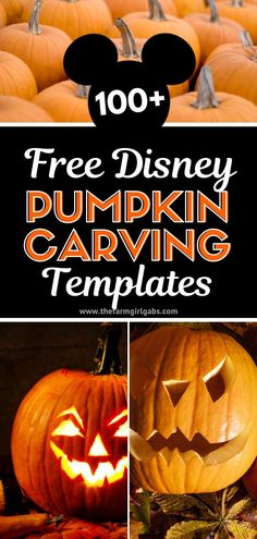 Happy Fall! Carve up some Disney magic this Halloween with one or more of these 100  Disney Pumpkin Carving Ideas. How cute will your pumpkin look with one of these Disney, Star Wars or Marvel Characters??!! #WaltDisneyWorld #Halloween #PumpkinCarving #DisneyCraft #DisneyHalloween