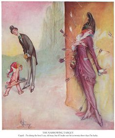 """""""The Narrowing Target. Cupid - I'm doing the best I can, old man, but if I make one hit in twenty these days I'm lucky."""" Puck valentine issue, February 1914. Illustrated by Nelson Greene."""