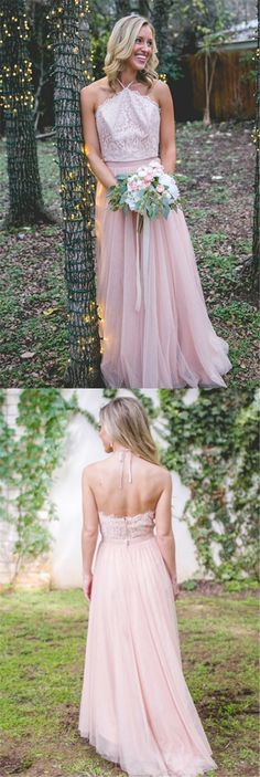 Light Pink Lace Halter Top A-line Tulle Prom Bridesmaid Dresses, Popular Cheap Bridesmaid Dresses,PD190389