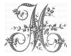 ALFABETO francese STENCIL lettera grande M di RareVintagePatterns