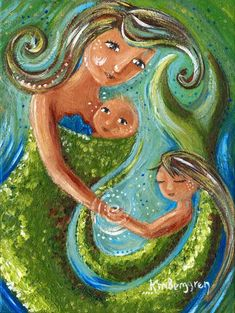 print on canvas, mother child, daughter, undersea, mermaid, mermama, merchild, green, shell, ocean, fantasy, long hair, babywearing, baby wear, wrapping baby, toddler, brown hair, motherhood, painting on canvas, gift for mom, gold, blonde, sparkle