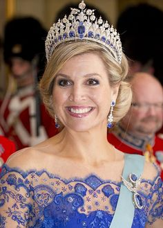 Queen Maxima wearing the Mellerio Sapphire tiara at the Gala Dinner at Christianborgs Castle.