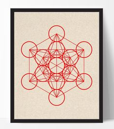 Metatron's cube print abstract art print red by ElfinaGraphics