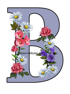 Letter B Initial Flower Covered Letter by FreshAirPrintables