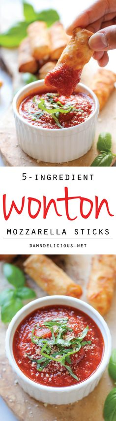 Wonton Mozzarella Sticks - With just 5 ingredients, you can make these mozzarella sticks in 10 minutes – a must for game day!
