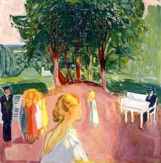 Edvard Munch (Norwegian, 1863-1944), Flirting in the Park, 1942. Oil on canvas, 130 x 150 cm