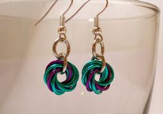 Seafoam and purple mobius chainmaille earrings.