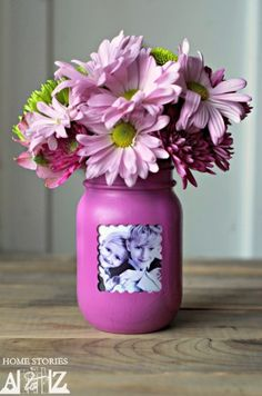 Mason Jar Photo Frame Vase in Radiant Orchid | Dollar Store Mom Frugal Fun – Crafts for Kids