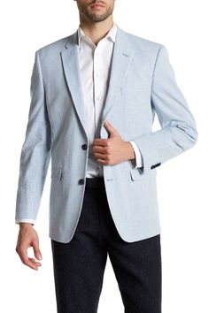 Blue & White Striped Two Button Notch Lapel Seersucker Jacket by Tommy Hilfiger on @nordstrom_rack