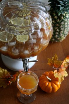 Yummy sparkling ginger apple cider in our Pumpkin Drink Dispenser on The Best Of This Life Blog.