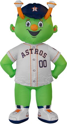 Have a blown up mascot in your yard with the Boelter Houston Astros Inflatable Mascot. Inflatable Mascot Durable nylon inflatable mascot Features .3W LED lights and a 12v 1.0A 12038 Blower Additional Details Ground stakes and tethers for secure outdoor use Officially licensed by the MLB® Los Astros, Houston Astros, Mlb, Yard, Lights, Sport, Outdoor, Products, Pets