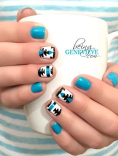 Aztec Blue | Step-by-step tutorial on how to create this cute and fun aztec nail art design. This is the perfect manicure for anytime during the year . . .