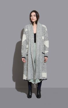 """Long coat in our super soft Fair Isle Jacquard knit with """"patched"""" details. Dropped shoulders. Long sleeves. Long, wide ribbed shawl collar. Open front. Patch pockets at hips. Slouchy, relaxed fit. #rachelcomey"""