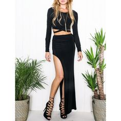 Choies Black Long Sleeve Crop Top and High Waist Side Spilt Maxi Skirt ($20) ❤ liked on Polyvore featuring skirts, black, black maxi skirt, floor length skirt, crop skirt, ankle length skirt and long skirts