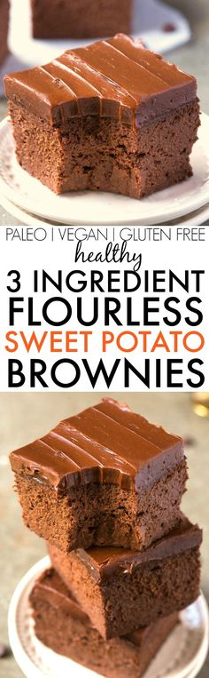 Healthy 3 Ingredient FLOURLESS Sweet Potato Brownies SO easy simple and fudgy NO butter NO flour NO sugar and NO oil needed at all vegan gluten free paleo recipe Paleo Dessert, Gluten Free Desserts, Healthy Desserts, Vegan Gluten Free, Dessert Recipes, Healthy Meals, No Sugar Desserts, Dairy Free, Dessert Food
