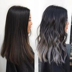 19 Trendy hair color balayage ash silver ombre - All For Hair Color Balayage Brown Hair Balayage, Balayage Brunette, Hair Color Balayage, Brunette Hair, Hair Highlights, Black Balayage, Black Hair With Grey Highlights, Ashy Hair, Brown Highlights