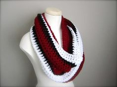 Crochet Red, White, and Black NHL, NFL Hockey, Football, Soccer, Olympic Sports Team Colors Infinity Scarf, Men's Scarf, Unisex Scarf