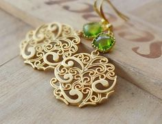 Gold Earrings Round Paisley Also Available in by BeadingTimes, $20.00