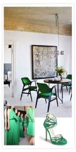 ad5855359 Bright emerald green dining chairs with a warm gold ceiling makes an otherwise  minimal scheme quite extraordinary.