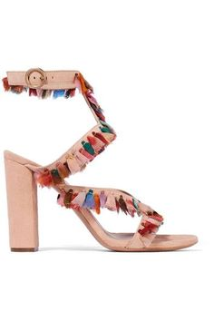 Heel measures approximately 70mm/ 3 inches Beige suede Buckle-fastening ankle strap Designer color: Reef Shell Made in Italy