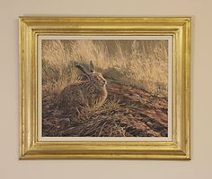 Framed original oil painting of a brown hare.