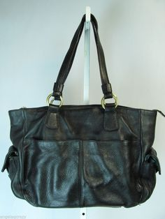 SIGRID OLSEN Black Pebbled Leather Large Shopper Tote Shoulder Bag Handbag Purse #SigridOlsen #TotesShoppers