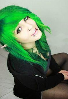 Green hair and elf ears
