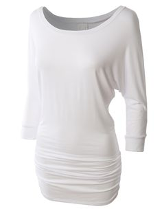 LE3NO Womens Stretchy 3/4 Dolman Sleeve Drape Top with Side Shirring   LE3NO