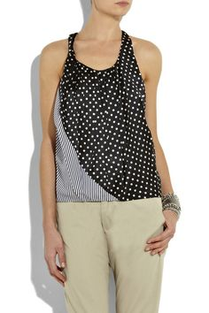Black and white striped and spotted silk-blend tank