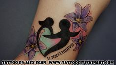 Mother Child heart symbol with flowers feminine color tattoo by Alex Egan. Lockport, IL. www.tattoocityskinart.com