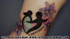 Mother Child heart symbol with flowers feminine color tattoo by Alex Egan. Lockport, IL. www.tattoocityskinart.com