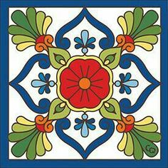 Blue Talavera Design decorative art tile is hand painted and hard fired at over 1800 degrees making it ready for use indoors or outdoors Tile Murals, Tile Art, Tile Painting, Motifs Islamiques, Motif Arabesque, Mexican Art, Mexican Tiles, Art Populaire, Tuile