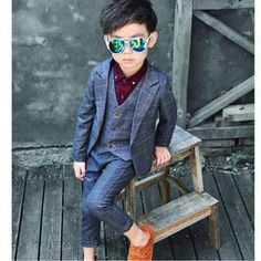 a5496d38caa45 Boys Plaid Suit Boys. ActhInK New 3Pcs Boys Plaid Wedding Suit Brand England  Style Gentle Boys Formal Tuxedos Suit Kids Spring Clothing ...