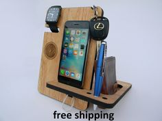 This personalized Docking Station is made of solid wood Hevea. Colour - natural. This gift will please any man. An excellent reason - to make a