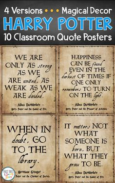 elementary classroom decor Harry Potter Quote Posters - Decorate your elementary classroom bulletin boards with this printable set of inspirational Harry Potter quote posters Cool Bulletin Boards, Classroom Bulletin Boards, Classroom Quotes, Classroom Posters, Elementary Classroom Themes, Classroom Ideas, Diy Classroom Decorations, Harry Potter Classroom, Preschool Learning Activities