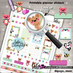 Stickers Set, Printable Planner Stickers, Weekly Stickers, Animal Stickers, Erin Condren, Planner Accessories, Cute Stickers, Happiness