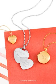 A perfect keepsake, a perfect gift - custom lockets a timeless gift for any occasion. From caged birthstone lockets, secret message and classic heart lockets, Eve's Addiction offers a variety of locket to fit anyone's style. Save 30% and get free shipping on your order today !#valentinesdaygift